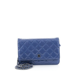 Chanel Leather Blue Clutch