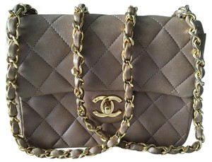 Chanel Lambskin Quilted Camel Shoulder Bag