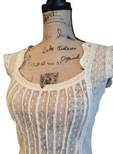 Free People Sheer Lace Delicate Button Up Back Top Ivory