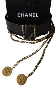 Chanel Chanel Black Leather Belt w/ Classic Gold Chain Medallion
