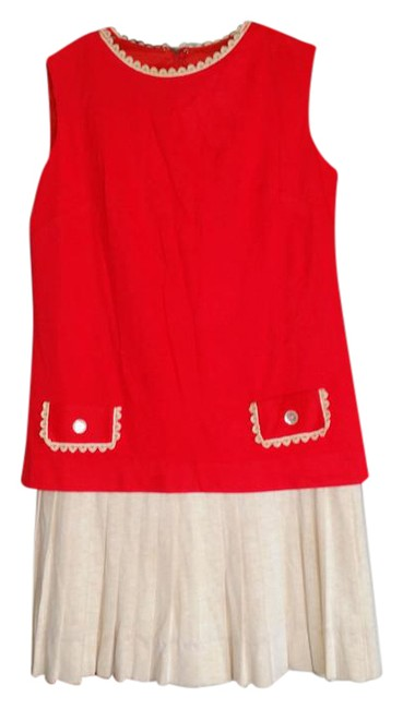Item - Red and Cream Vintage Label Lois Ann Jrs Dallas Knee Length Short Casual Dress Size 4 (S)