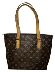 Louis Vuitton Leather Monogram Tote in Brown