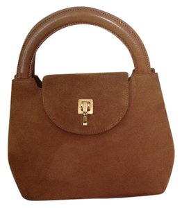 St. John Suede Leather Strap Leather Handles Magnetic Closure Fabric Logo Lining Wristlet in Cool Chocolate