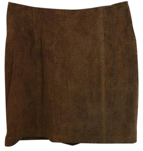 Laundry by Shelli Segal Brown Suede Skirt