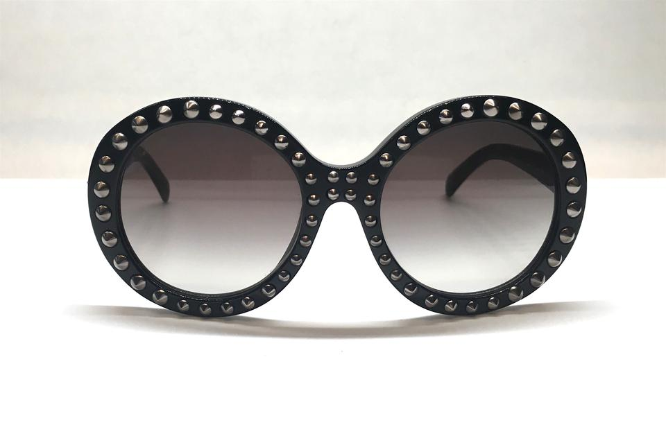 a20c2161630e8 Prada Black with Silver Studs and Gray Gradient Lens New Round ...