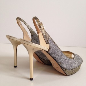 Jimmy Choo Nova Glitter Silver And Gold Slingback Silver/Gold Pumps