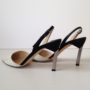 Jimmy Choo Devleen Point Toe Slingback Off White/Black Pumps