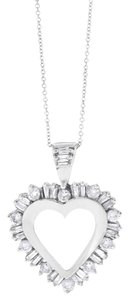 1.00 CT Diamond Rounds & Baguettes Heart Pendant w/ Chain in 14k White