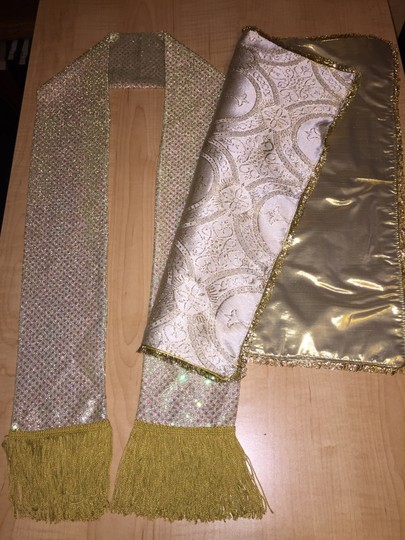 Other Ministry Stole; Gold Sequined Lame' & Embellished Satin Handkerchief [ MissSundayBest Closet ]
