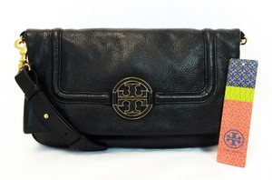Tory Burch Amanda Fold-over Pebbled Leather Black Messenger Bag
