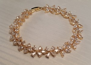 Wedding Gold Plated Cubic Zirconia Flower Bracelet