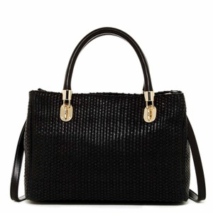 Cole Haan Benson Woven Leather Gold Hardware Satchel in Black