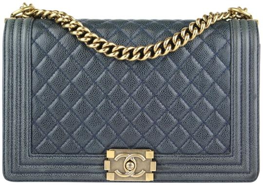 Boy New Medium Dark Navy Caviar Shoulder Bag by Chanel