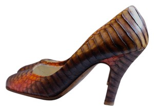 Prada Leather Python Snakeskin Round Toe brown and orange Pumps
