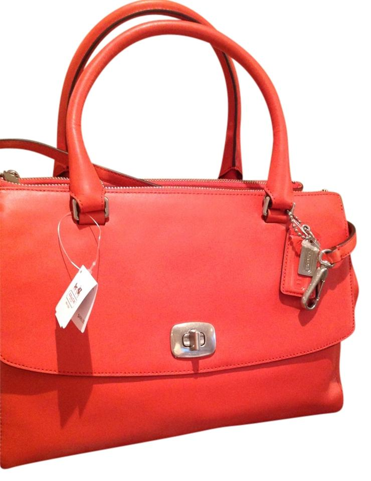 Coach Harper Leather Poppy Satchel In Orange