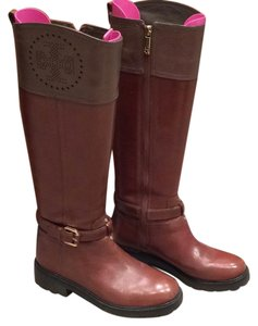 Tory Burch Perforated Double T Riding Brown Boots