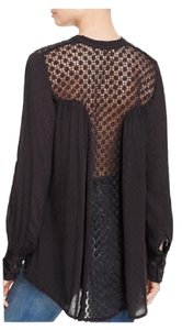 Free People The Best Crochet Lace Top Black