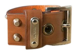 Prada Prada Tan Leather Stud Cuff Bracelet