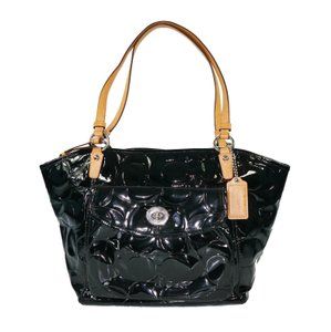 Coach Embossed Patent Leather Silver Hardware Turn Lock Signature Tote in Black