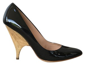 Giuseppe Zanotti Patent Leather Wood Heels Black Pumps