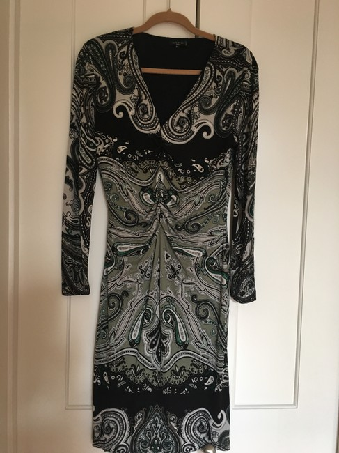 Item - Green Grey & Black Wrap Mid-length Night Out Dress Size 12 (L)