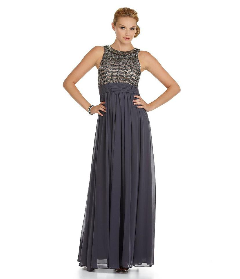 JS Collections Navy and Silver Empire Waist Beaded Gown Long Formal ...