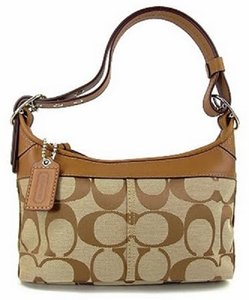 Coach Cross Body Hobo Signature Leather Jacquard Shoulder Bag