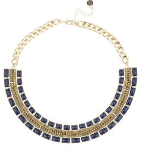 House of Harlow 1960 NEW Lapis & Rhinestone Collar Necklace