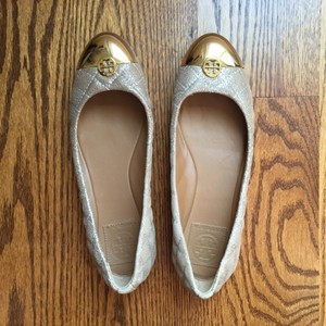 Tory Burch Gold and Beige Flats