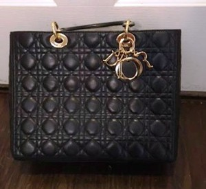 Dior Lambskin Quilted Cannage Tote in Black