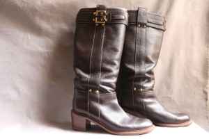 Chlo Leather Gold Hardware Pull On Brown Boots