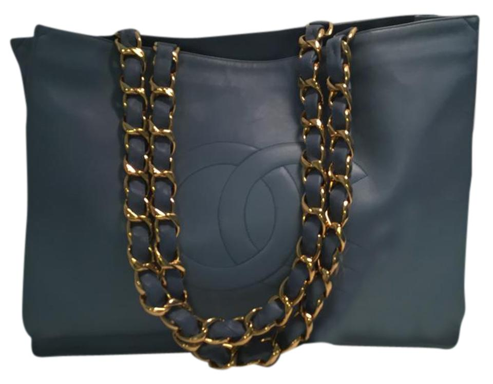 fa5885284f83 Chanel Bag Jumbo Shopper with Gold Toned Hardware Blue Smooth ...
