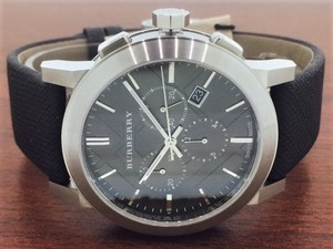 Burberry NWT Burberry Check BU9359 Leather Strap Chronograph Watch