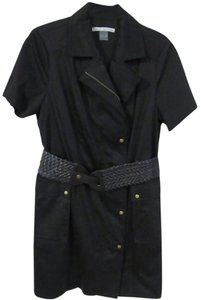 Peter Nygard Belt Wrap Collar Stretch Zipper Dress