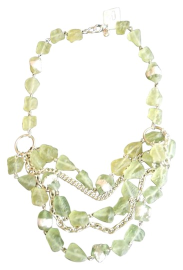 Ann Taylor LOFT Green and Silver 3-tier Necklace