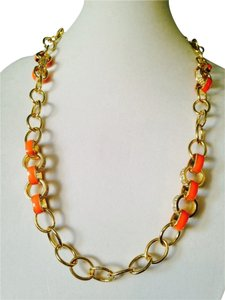 3 Piece Set Orange Enamel/Gold Link Necklace (2) & Bracelet