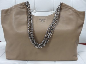 Prada Chain Leather Vitello Daino Tote in Beige