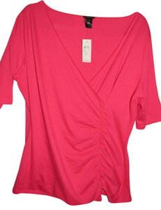 Ann Taylor Ruching Wrap Shirt Top pink
