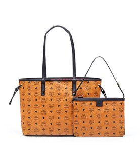MCM Leather Tote in Cognac