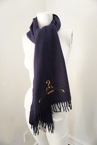 Moschino MOSCHINO Designer Blue Lambswool Scarf Embroidered Question Mark