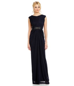 Adrianna Papell Cap Sleeve Tulle Gown Ruched Beaded Dress