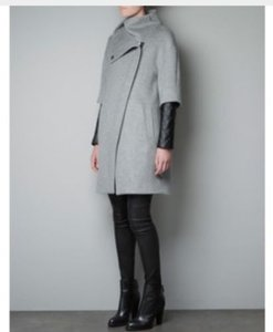 Zara Quilted Faux Leather Assymetrical Wool Trench Coat