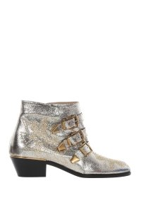 Chloé Chloe Leather Ankle Grey Glitter Boots