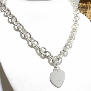 Tiffany & Co. CLASSIC!! Tiffany & Co. Heart Tag Necklace Sterling Silver 15.5