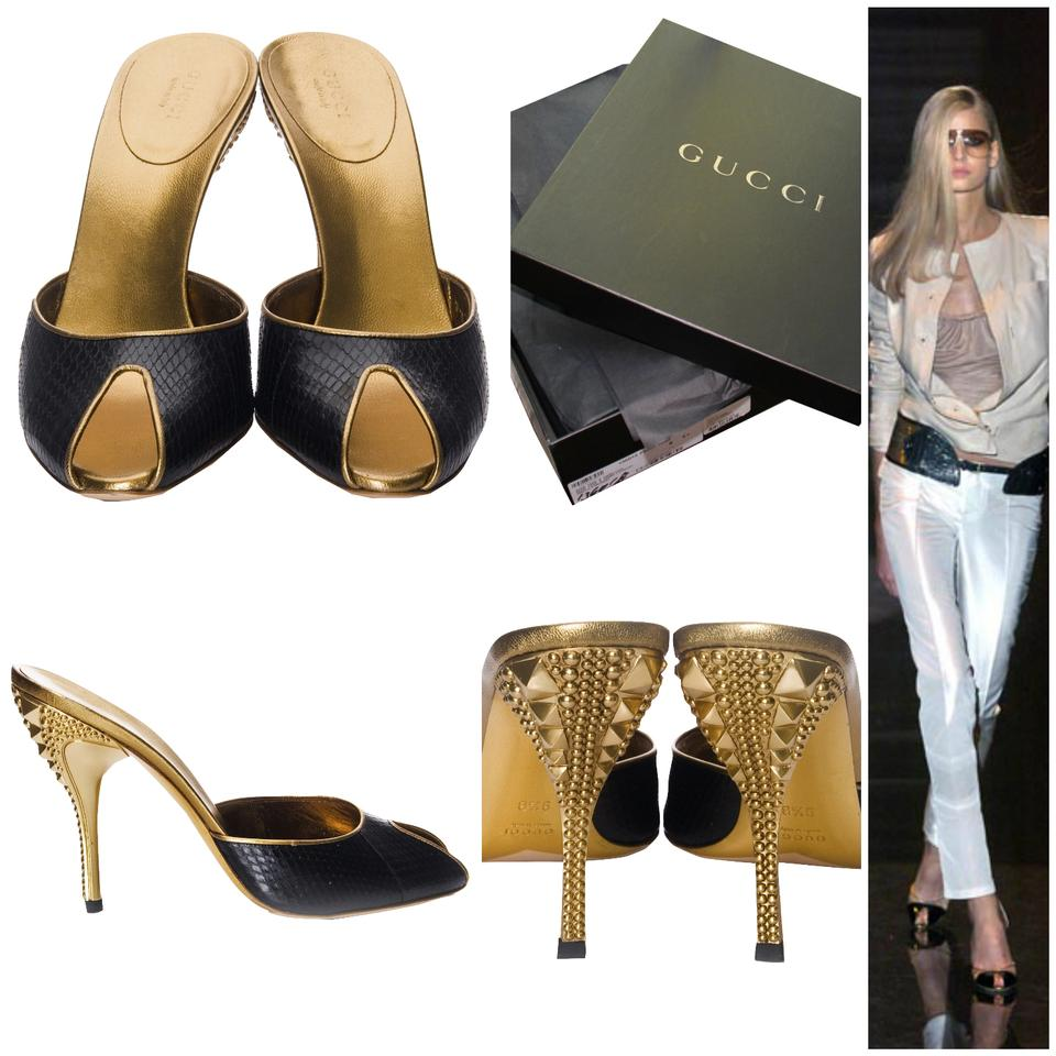 0362f70df Gucci New Tom Ford Final Collection Runway Snakeskin Heels Mules ...