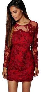 Other Long Sleeve Embroidered Bodycon Dress