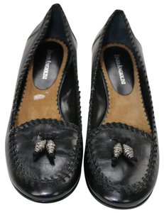 Enzo Angiolini Enzo Comfortable Black Leather and Suede Flats