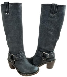 Frye Harness Strap Western Style Made In Mexico Grain Leather PEBBLED/TEXTURED Charcoal Boots