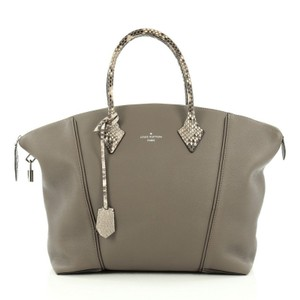 Louis Vuitton Leather Python Tote in Grey