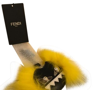 Fendi Fendi Black and Yellow Fur Monster Mirror Keychain